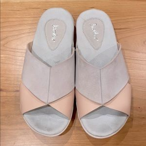 Jambu 6 gray/pink leather slides w arch support